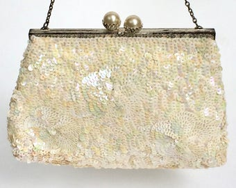 White Sequin Purse France