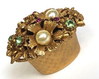 Vintage Florenza Poodle Pill Box Trinket Box Filigree Jewelry Casket Ruby Red Rhinestones Hollywood Regency Ormolu Metal Antique gold Ornate