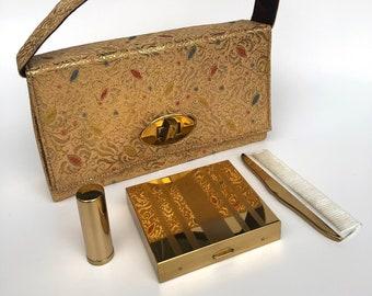 Vintage purse Clutch Carryall Cigarette Case Lipstick Comb Mid Century Britemode Unique Vintage Gift