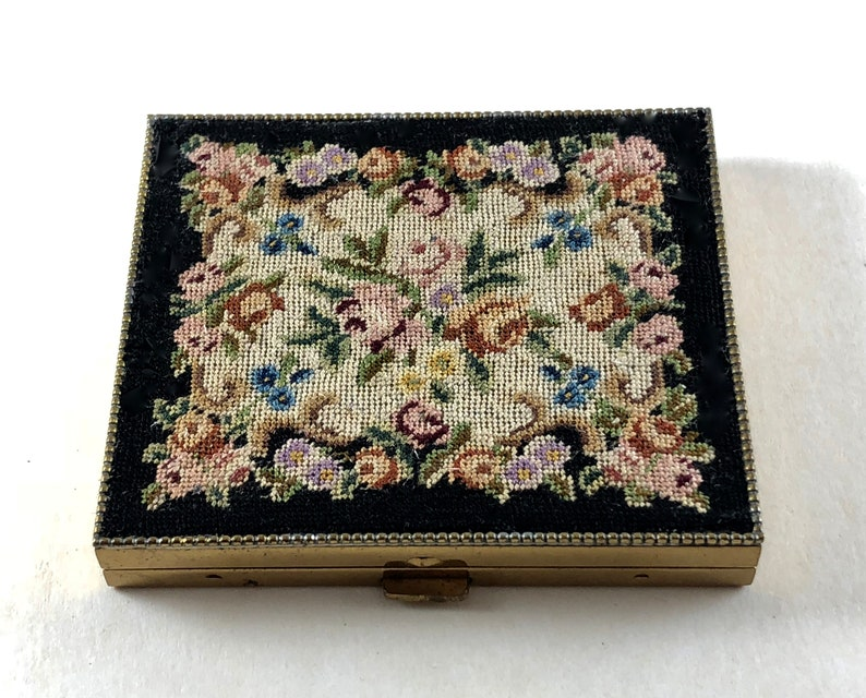 Vintage Compact Petite Point Unique Vintage Gift Holiday Christmas Gift