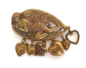 Angel Heart Brooch Art Nouveau Revival