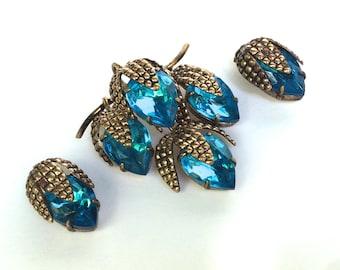 West German Demi Parure Brooch and Earrings