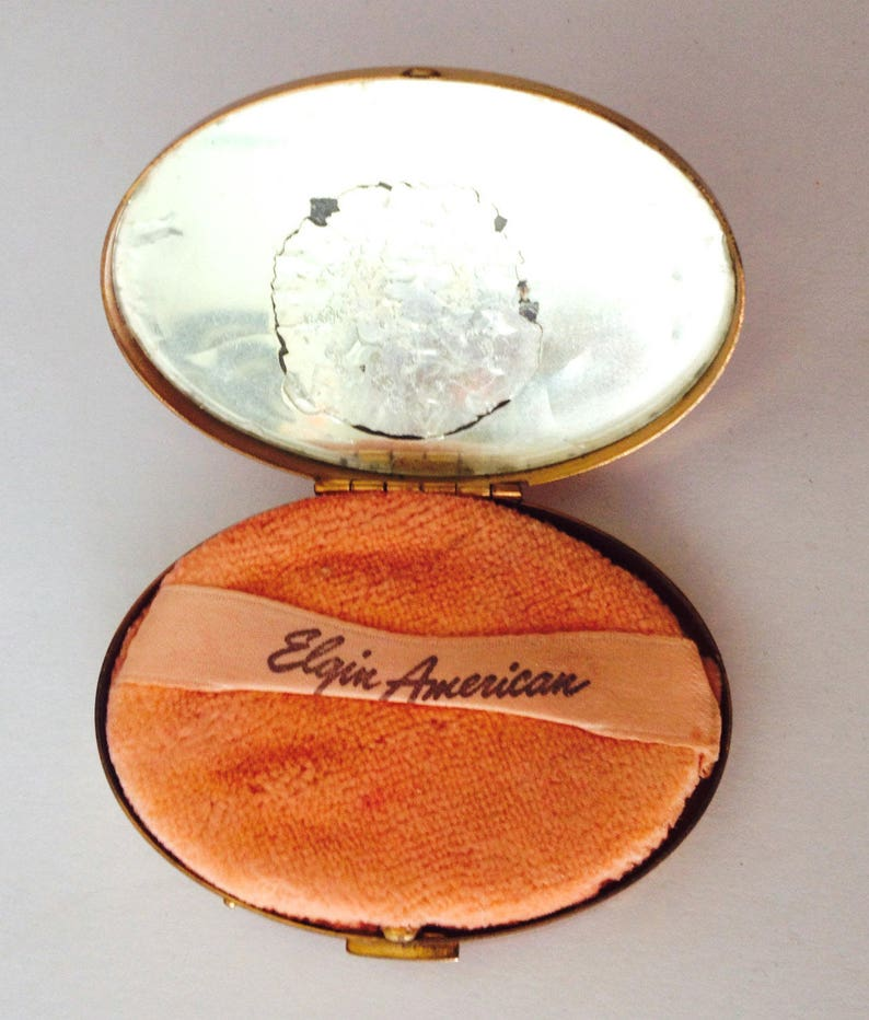Vintage Compact Red and black enamel compact Elgin American Unique Vintage Gift