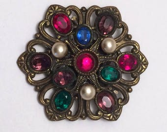 Vintage Brooch Czech Multi Color Rhinestone and Brass Filigree Unique Vintage Gift
