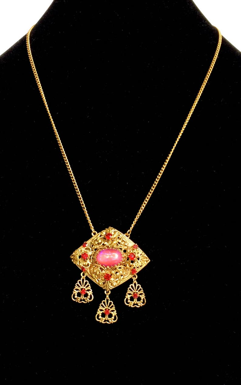 Czech Necklace with Pink Moon Stone Art Glass Unique Vintage Gift