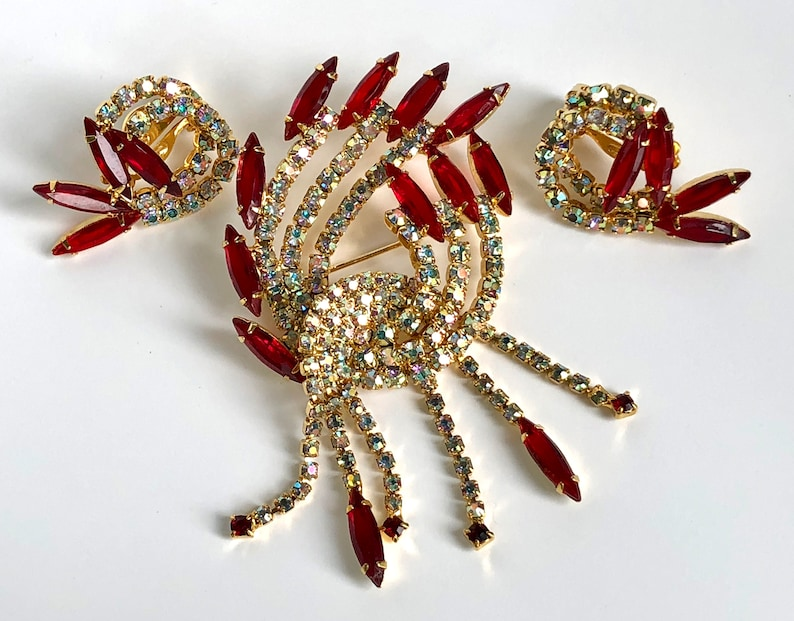 AB and Red Rhinestone Brooch and Earrings Unique Vintage Gift
