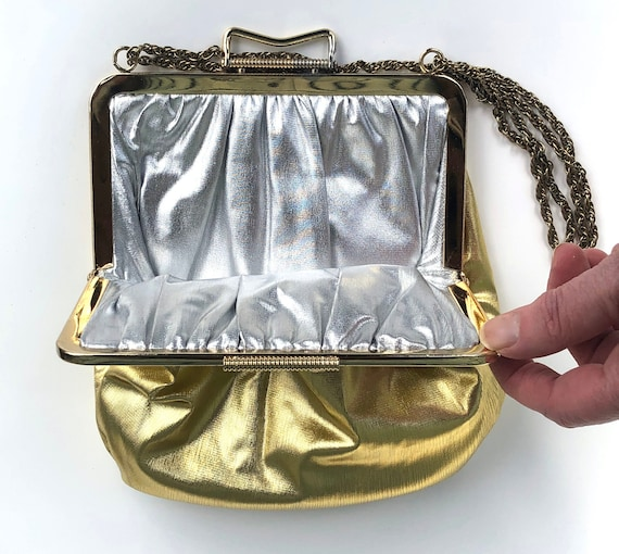 Vintage Purse Evening Bag Reversible Silver lame &