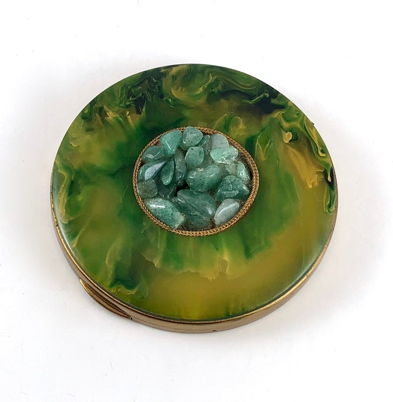 Vintage Compact Bakelite Jade Cover Styled by SchildKraut Unique Vintage Gift