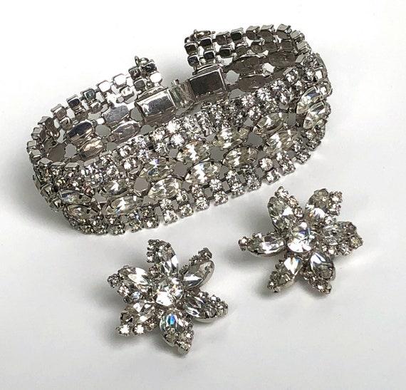 Vintage Rhinestone Bracelet and Earring Set Unique