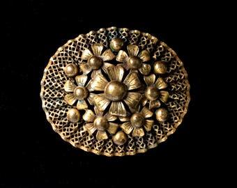 Czech Brooch Brass Filigree Antique