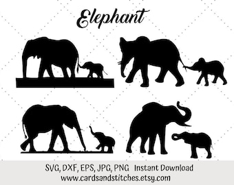 Elephant SVG - Elephant Silhouette SVG - Digital Cutting File - Graphic Design - Cricut Cut - Instant Download - Svg, Dxf, Jpg, Eps, Png