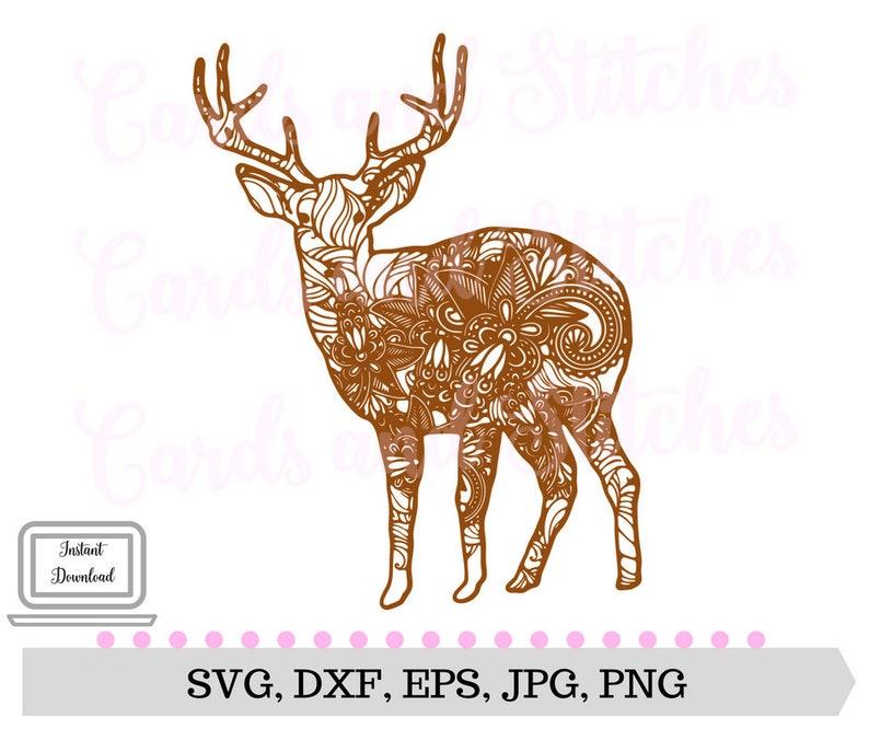 Svg Cerf Svg Chevreuil Mandala Coloriage Jpg Fichier De Etsy