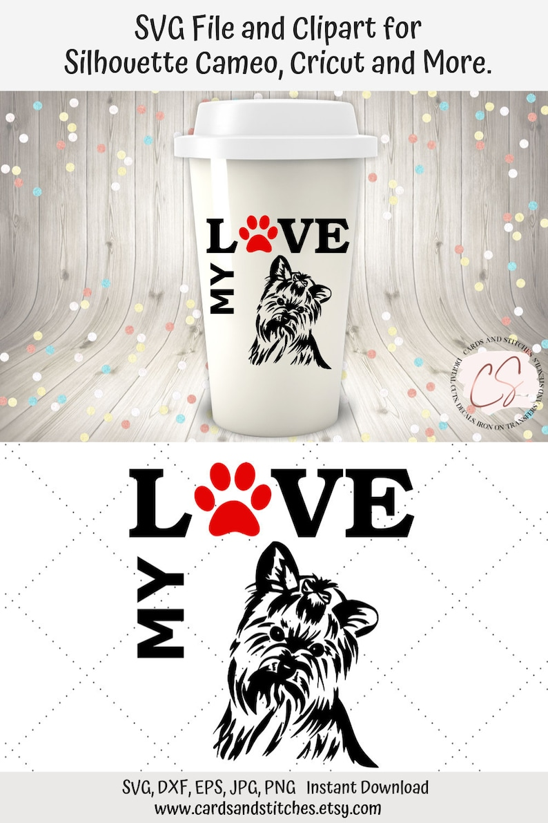 Yorkie Svg Great For Silhouette And Cricut Machines Love Etsy