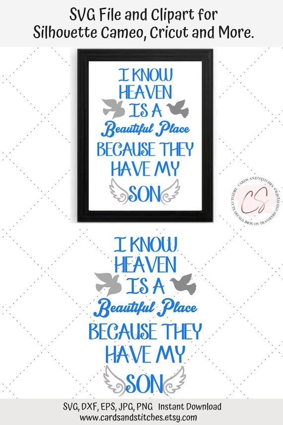 Son In Heaven Svg Angel Wings Svg Cut File For Cricut And Etsy