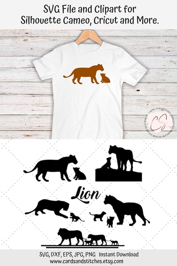 Lion Svg Lion And Cubs Svg Digital Cutting File Graphic Etsy