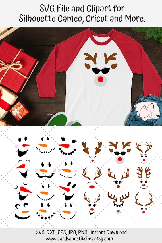 Dxf Jpg Eps Reindeer and Snowman Faces SVG Bundle Christmas Clipart Great for Cricut and Silhouette Machines Svg File Png