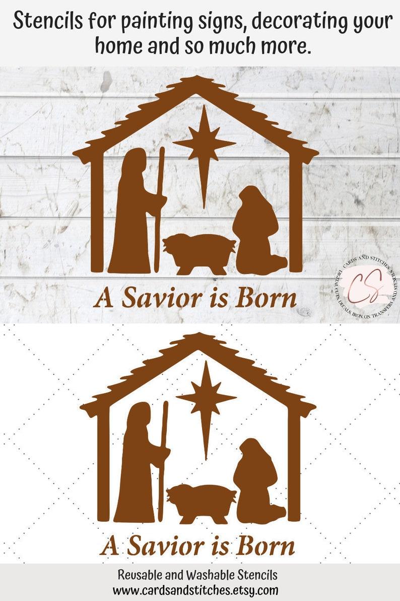 Nativity Stencil  Savior Stencil  Baby Jesus Stencil  image 0