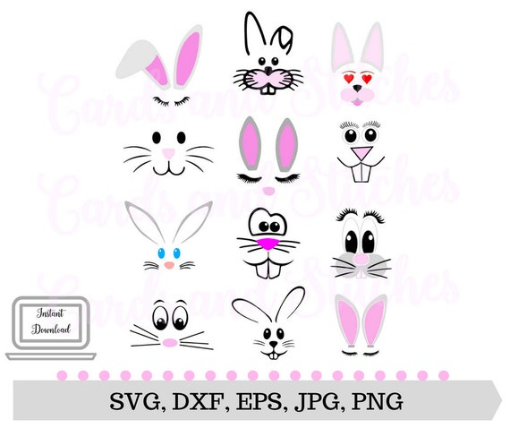 Bunny Faces SVG - Easter Bunny Faces - Bunny Faces Clipart - Digital Cut  File - Silhouette Cut - Svg, Dxf, Jpg, Eps, Png - Instant Download