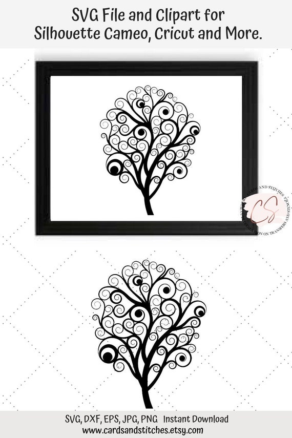 Tree Svg Fancy Tree Svg Digital Cutting File Silhouette Etsy