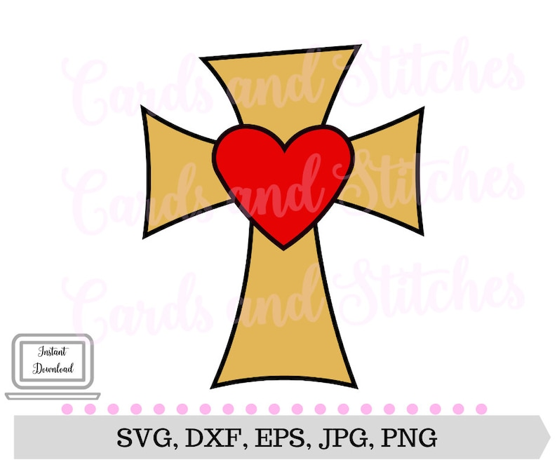 Cross Svg Cross With Heart Svg Cross Clipart Silhouette Etsy
