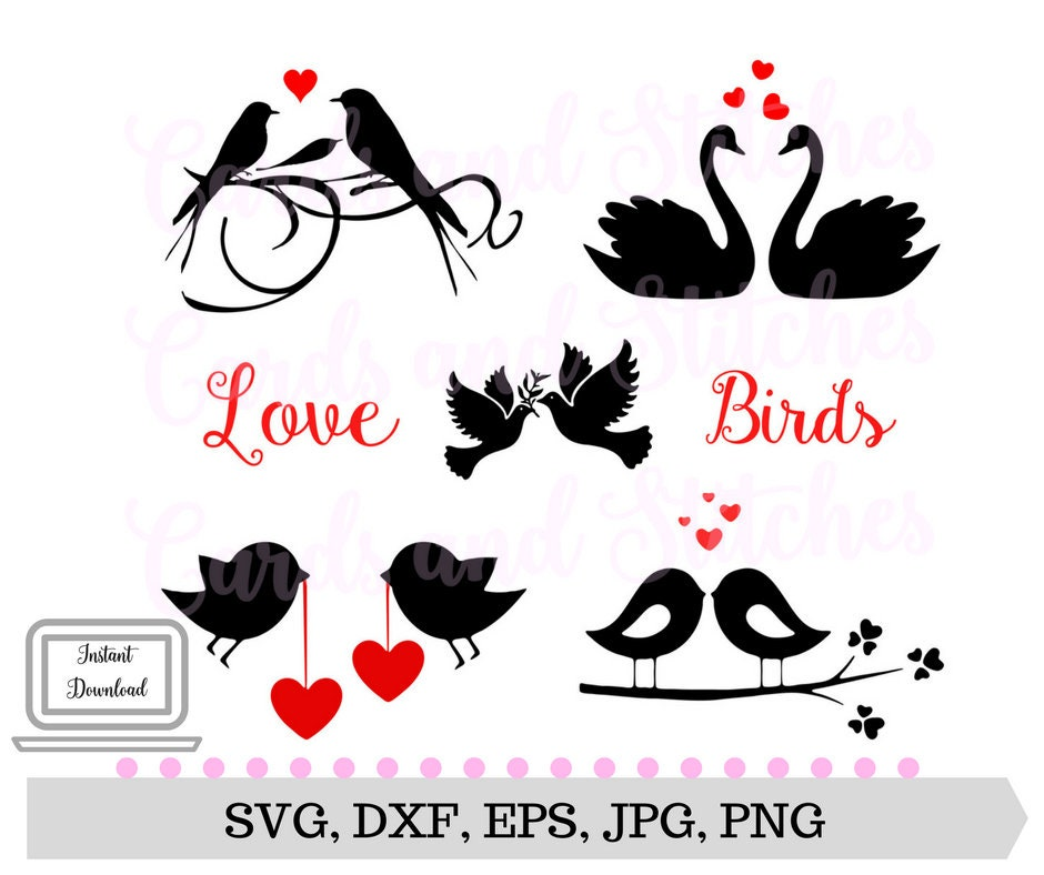 Love Birds SVG - Valentine SVG - Wedding SVG - Instant Download - Svg, Dxf,  Jpg, Eps, Png - Digital Cutting File - Vector Cut - Cricut Cut