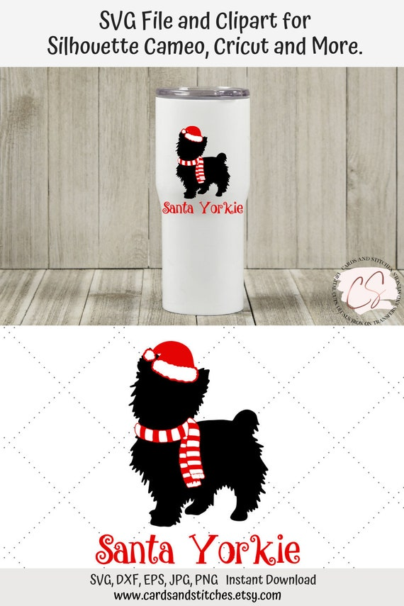 Santa Yorkie Svg Yorkshire Terrier Svg Christmas Svg Etsy