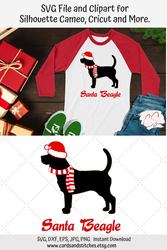 Christmas Beagle Clipart.Santa Beagle Svg Christmas Dogs Svg Beagle Svg Dog Clipart Vector Cut Svg Dxf Jpg Eps Png Silhouette Cut Digital Cut File