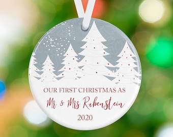 Personalized Ornament - First Christmas as Mr and Mrs - Snowy Winter Trees - Personalized Newlywed Christmas Tree Ornament - Just Married