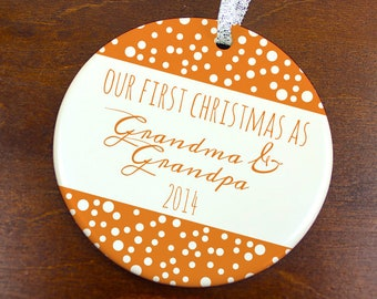 Our First Christmas as Grandma & Grandpa Ornament - Snowy Dots Ornament- Personalized Porcelain Holiday Ornament- Grandparents Gift -orn0428
