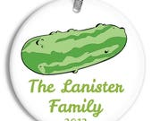 Personalized Family Name Christmas Ornament - Find the X-mas Pickle - Porcelain Ceramic Holiday Gift - orn0260 - Peachwik - Custom Colors
