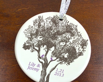 Anniversary Date Christmas Ornament - Birds in a Tree - Personalized Porcelain Love Holiday Ornament Gift - Newlyweds -orn0238 -Custom Color