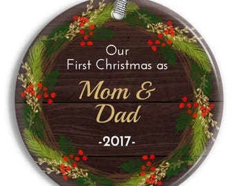Our First Christmas as Parents Ornament -  Rustic Wreath Ornament - Personalized Porcelain Holiday Ornament- Newborn Gift -orn0924