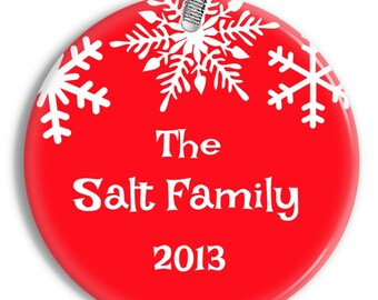 Snowflake Family Christmas Ornament - Personalized Porcelain Ceramic Holiday Ornament - orn0034 - Peachwik - Personalized Ornament