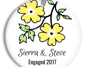 Newly Engaged Flower Blossom Christmas Ornament - To Be Married - Personalized Porcelain Holiday Ornament - orn0079 - Peachwik Ornament