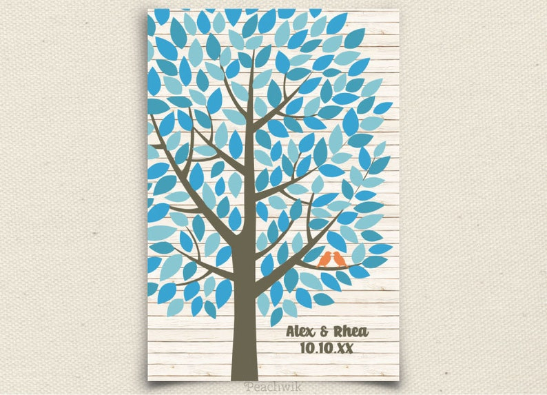 Wishwik Wedding Guest book Tree Guest Book Alternative File Wedding Guest Book Alternative Peachwik Printable PDF 150 guest sign in
