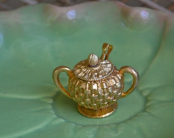 Vintage Gold Saccharine Dish Gold Plated Sugar Bowl Mini Gold Serving Dish with Tongs Tea Party