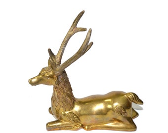 Vintage Brass Deer Figurine Brass Stag Brass Reindeer Brass Buck Deer Laying Down Art Deco Brass Deer
