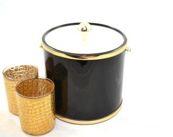 Black Ice Bucket Black and Gold Ice Bucket Vintage Black Ice Bucket  Black Barware