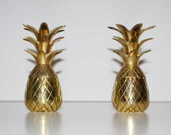 Vintage Brass Pineapple Hollywood Regency Brass Pineapple Dish Candle Holder Pineapple Barware