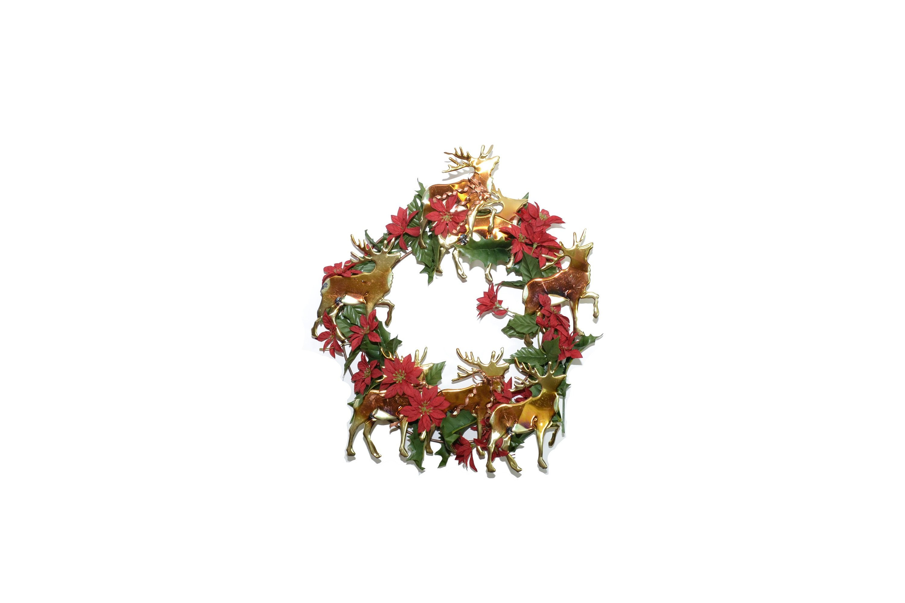 Vintage Metal Christmas Reindeer Wreath Poinsettia Wreath Christmas Wall Decor Gold And Red Wreath