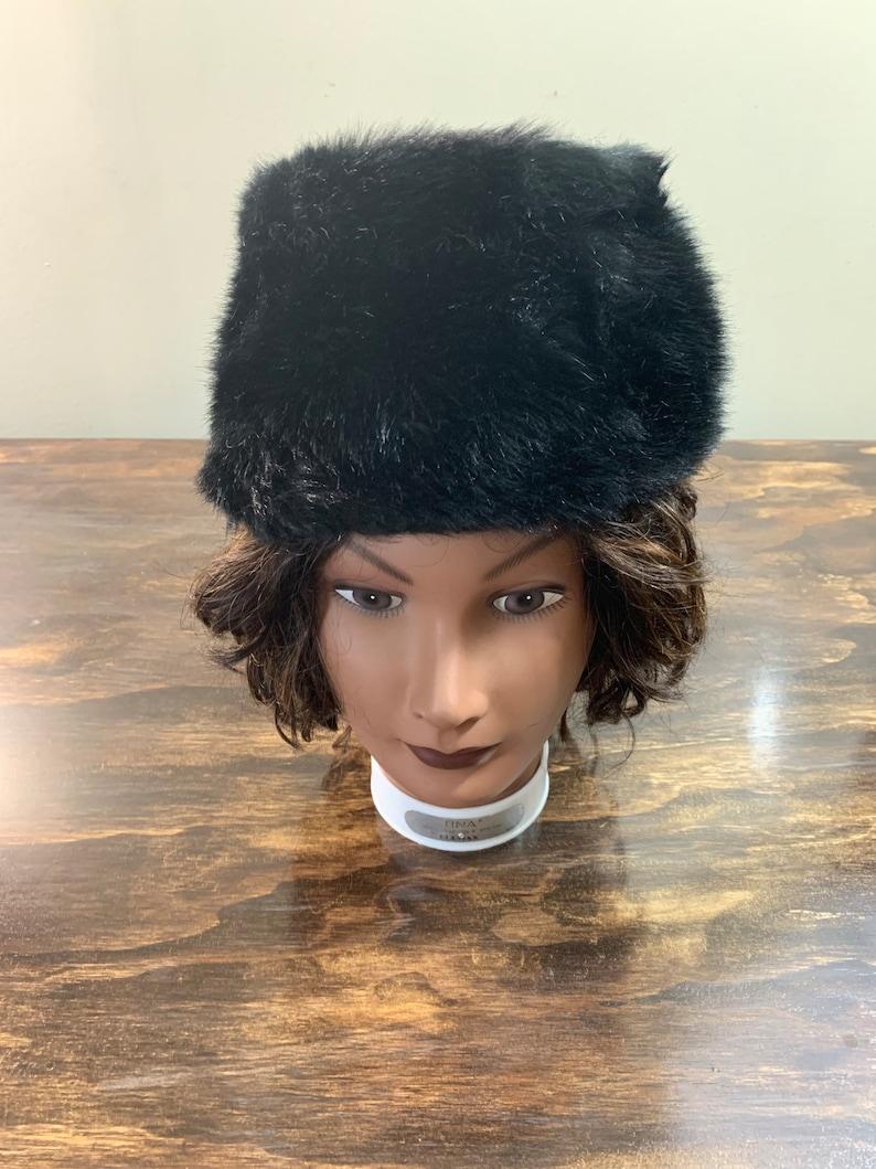 15c722e0d Vintage Black Faux Fur Hat Fur Hat Black Fur Winter Hat Women's Black Fur  Hat Russian Style Black Fur Hat