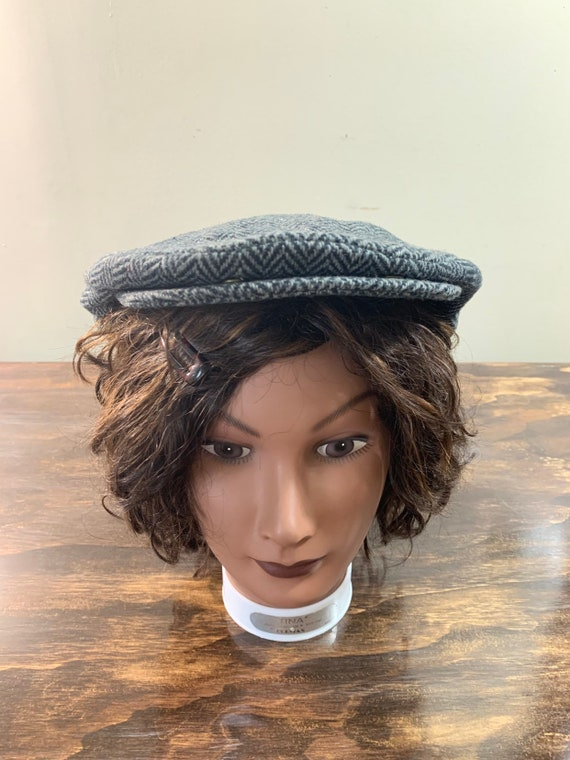 Vintage Gray Newsboy Hat Wool Newsboy Hat Gray Woo