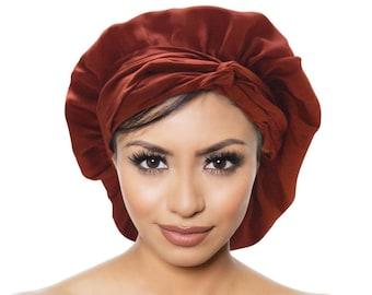 Silk Satin Bonnet by LULLADO | Satin Sleep Bonnet Cap, Adjustable Bonnet, Chemo Hat, Lull Cap | Various Colors