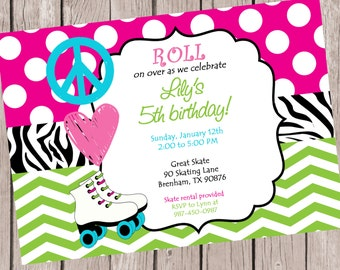 Printable Roller Skating Party Invitation Peace Love Etsy