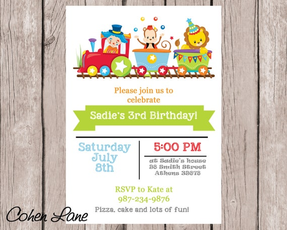 circus train birthday party invitation colorful train invitation