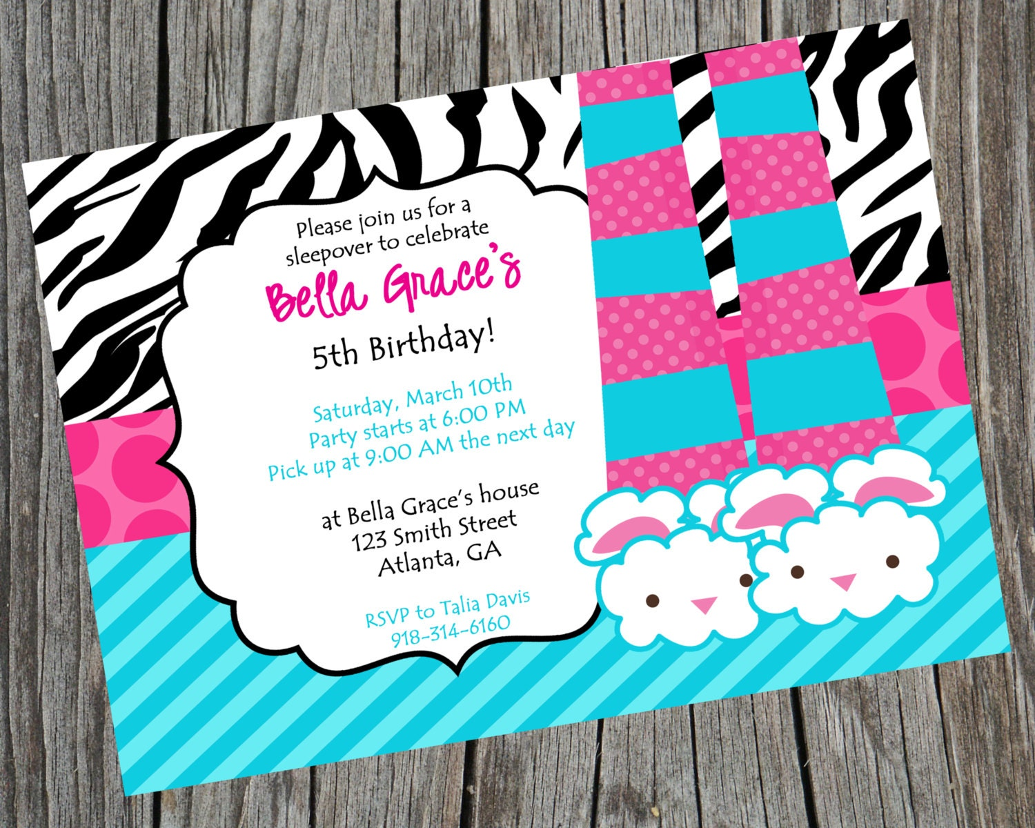 Sleepover Invitation Pajama Party Invite Sleepover Invite Etsy