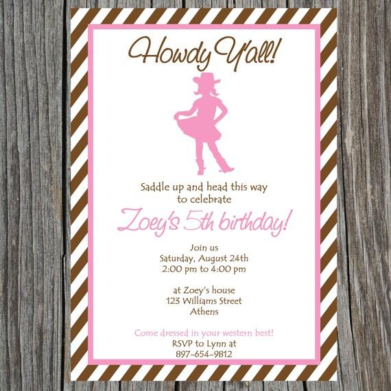 Printable Cowgirl Birthday Invitation Baby Shower Invite