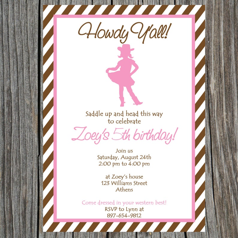 This is an image of Free Printable Cowgirl Birthday Invitations inside e cowboy party