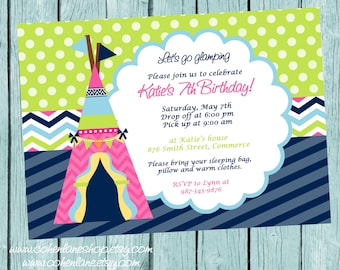 Glamping Invitation, Camping Invitation, Camping Birthday Invitation, Camping Party Invitation, Camping Invite, Glamping Invite, Printable