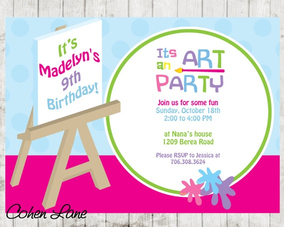 paint party invitation art party invitation painting party